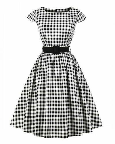 A line Dress Polka Dot Vintage Style Dress For Women