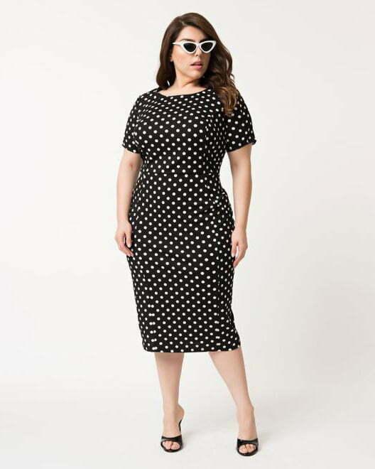 Unique Vintage Plus Size 1960s Black & White Dotted Short Sleeve Stretch Mod Wiggle Dress