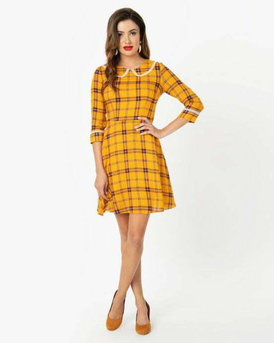 Voodoo Vixen 1960s Mustard Plaid & Ivory Lace Trim Fit & Flare Dress