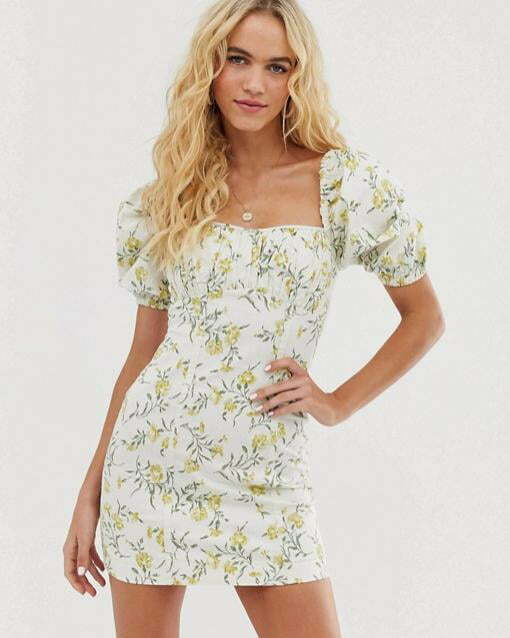 & Other Stories puff sleeve mini dress in vintage floral print