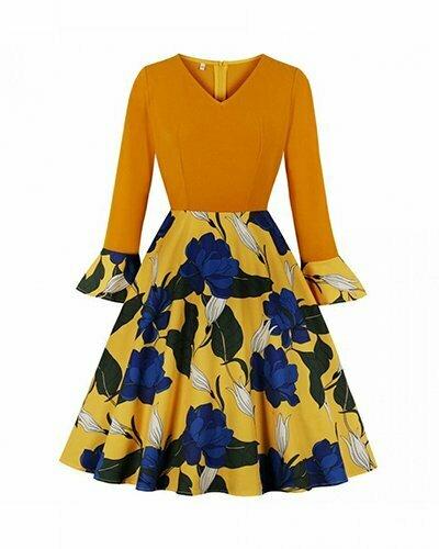 Vintage Dress Elegant Floral Print Long Sleeve Dress