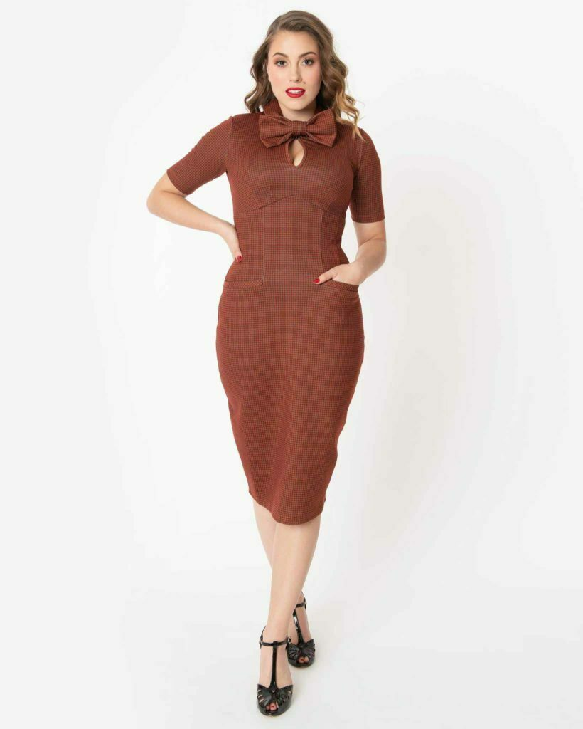 1960s Style Rust & Black Houndstooth Audrey Wiggle Dress