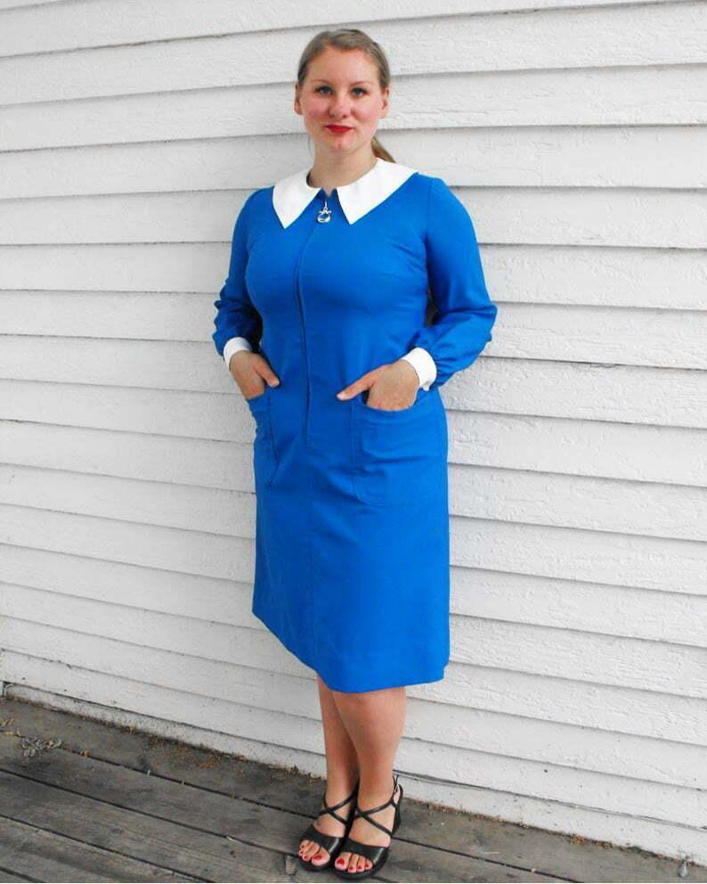 60s Mod Dress Blue Zipper White Collar Vintage L XL