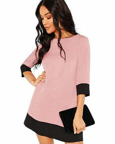 Floerns Women's 3/4 Sleeve Color Block Shift Tunic Dress