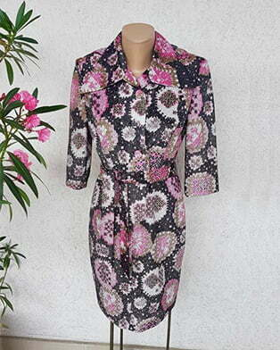 60s lurex button up mod dress with large collar- pink and black - size MEDIUM