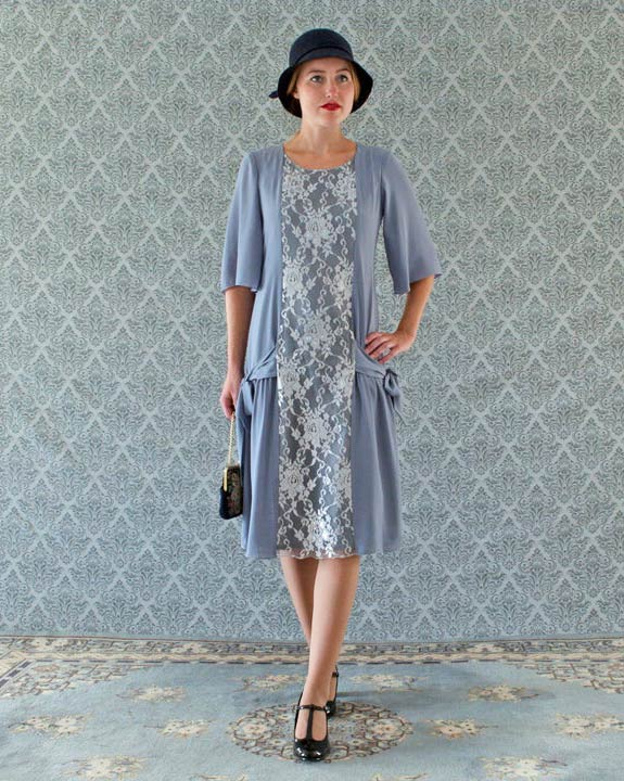 Grey and silver Great Gatsby dress with elbow length sleeves, 1920s dress, flapper dress, Charleston dress, Downton Abbey dress, 20er kleid