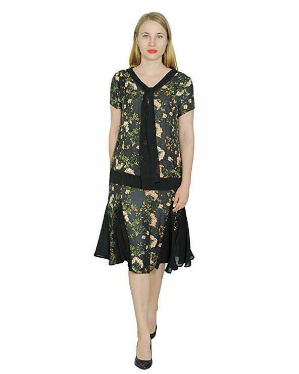 Marycrafts Women't Drop Waist 1920s Lined Floral Godet Dress