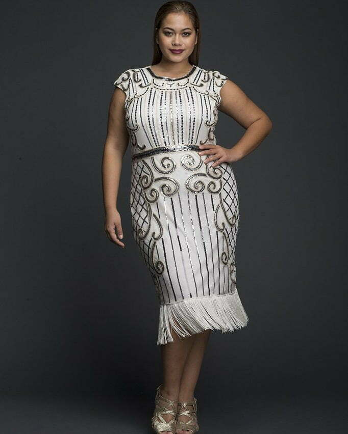 DAZZLE SEQUINED FLAPPER DRESS WITH TASSLE HEMS