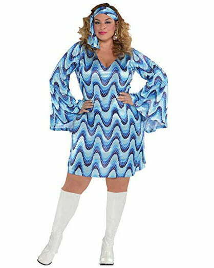Suit Yourself Blue Disco Costume for Adults, Plus Size, Includes a Sequin Mini Dress and a Matching Head Scarf