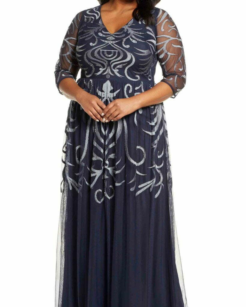 JS COLLECTIONS Embellished Chiffon Gown, Alternate, color, NAVY Embellished Chiffon Gown