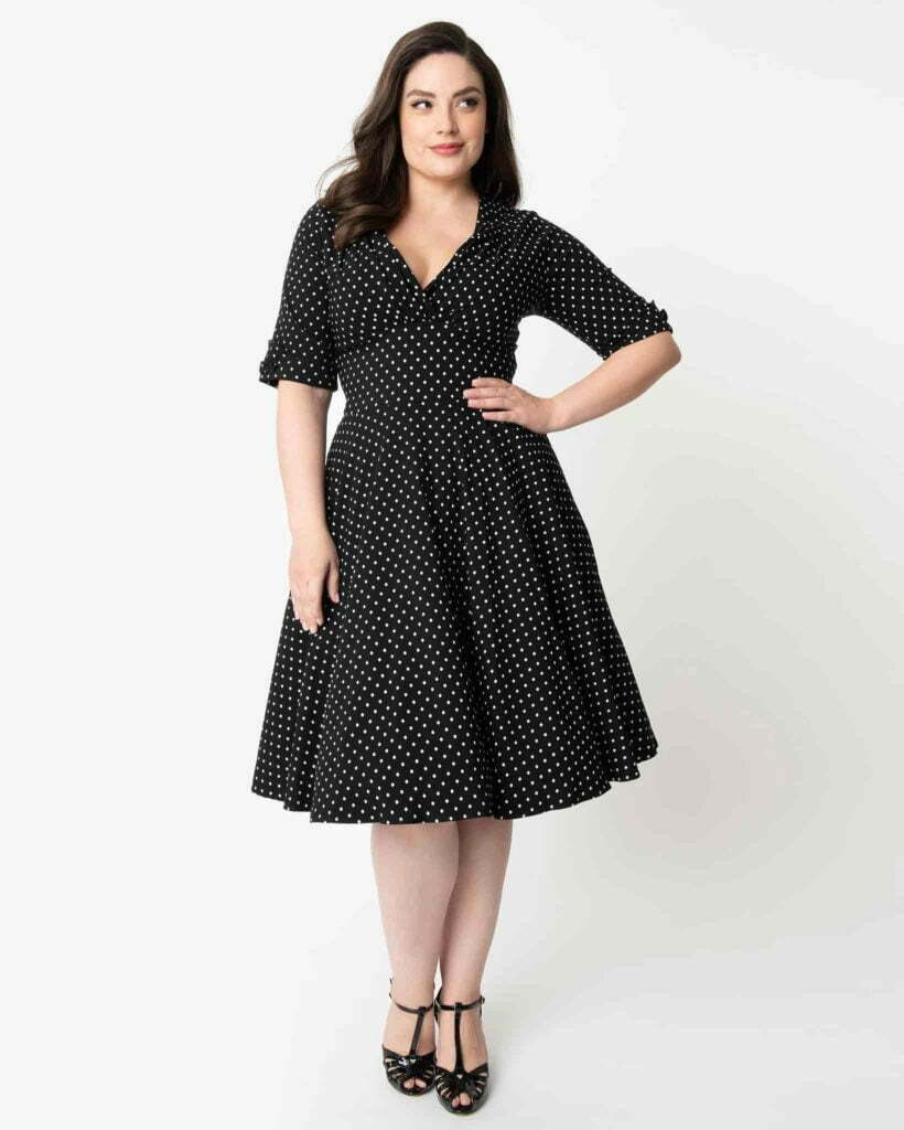 Plus Size 1950s Black & White Dot Delores Swing Dress with Sleeves