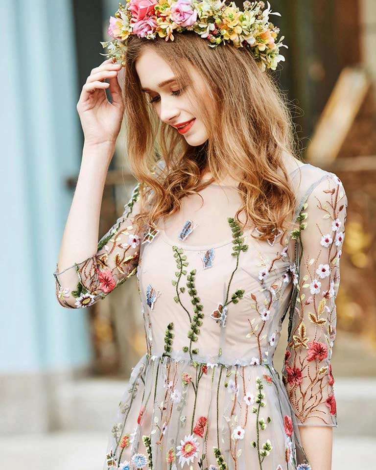 Woman Dress Bohemian Style Flower Embroidered Mesh Dress