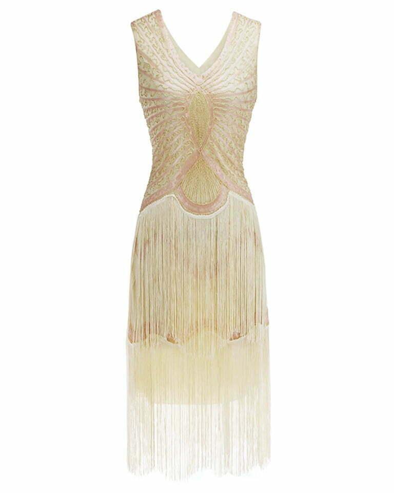 1920s V Neck Sequin Flapper Dance Dress