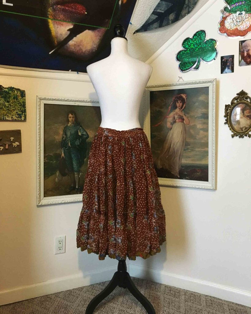 1970s Brown Floral Tiered Full Dance Skirt Midi Hippie Summer Boho Plus Size XL-1X