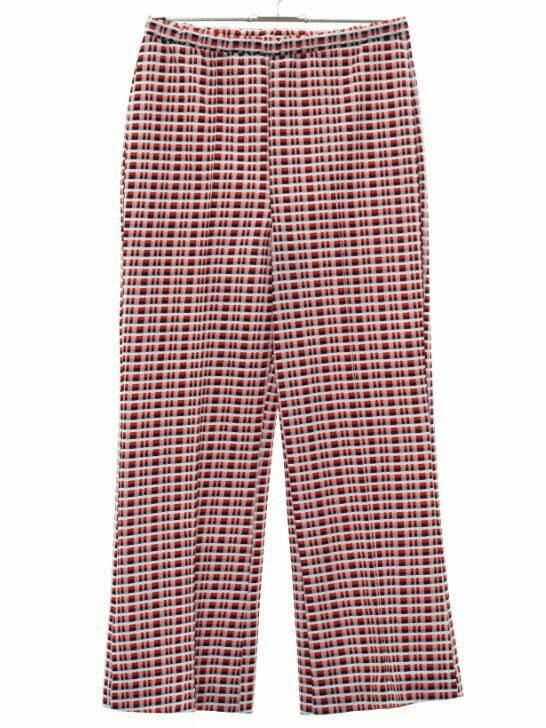1970's Womens Plaid Flared Pants