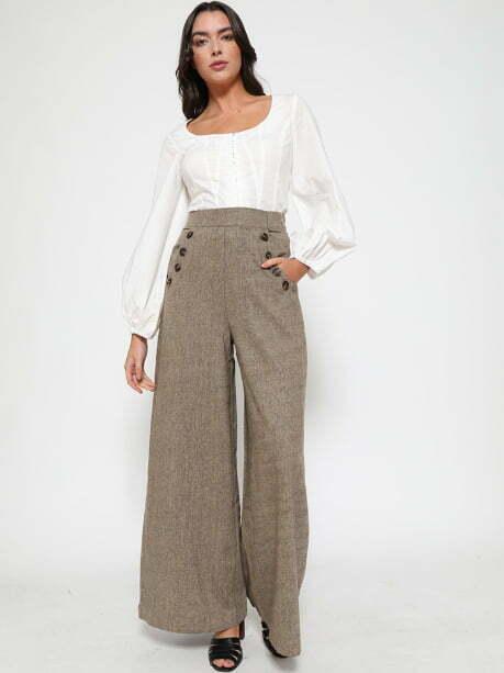 'Adonia' Brown Tweed Wide Leg Trousers