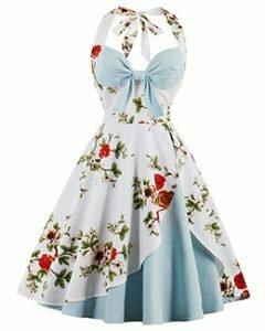 Aline Dress Sweet Halterneck Floral Pleated Dress for Women