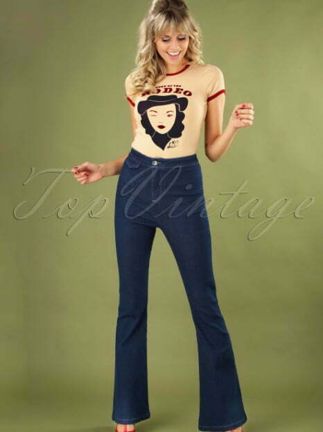 22 Article nr. 19718 More of Clothing , Pants & Playsuits , Jeans Tags 60s , 70s , Boho Chic , Cotton , Denim , Festival Outfit Guide , Legs Eleven Flared Trousers Look , Uni , Wide leg Banned Alternative 70s Legs Eleven Flared Trousers in Denim