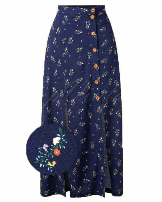 Banned Retro 70s Spring Sprig Maxi Skirt in Blue