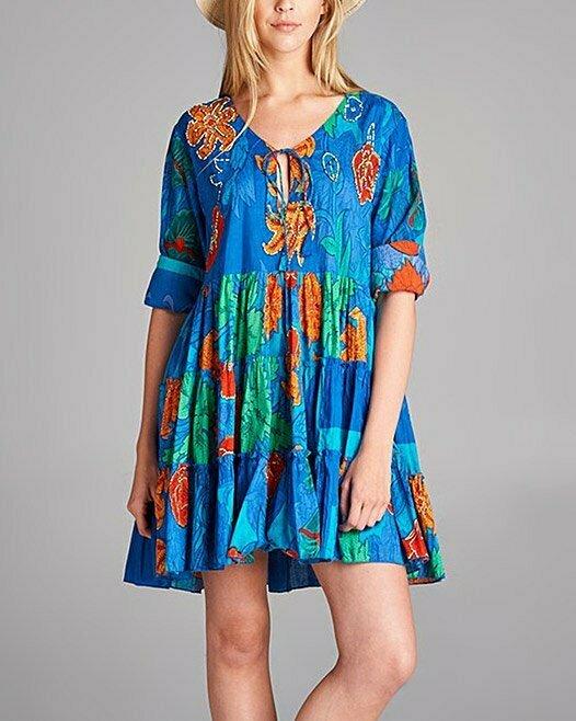 Blue Floral Peasant Dress - Women & Plus Simply Boho LA