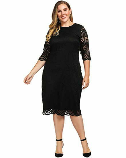 Chicwe Women's Plus Size Lined Elegant Shift Dress with Scalloped Lace Hem