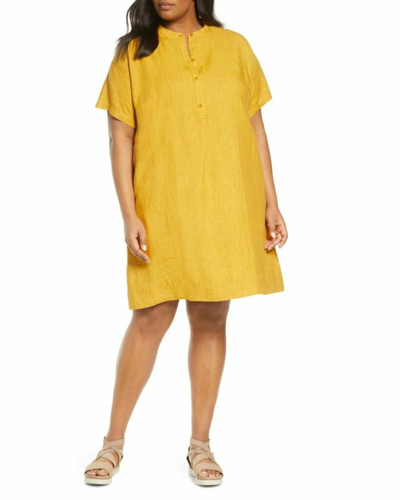 Short Sleeve Organic Linen Shift Dress