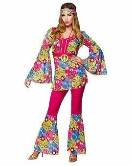 General Ladies Womens Hippie Hippy Fancy Dress Costume 60S 70S Groovy Flower Power Outfi
