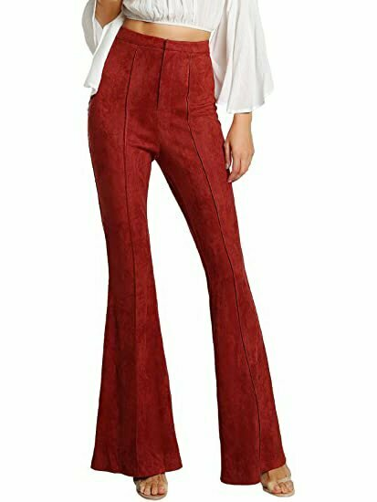 MAKEMECHIC Women's Solid Flare Pants Stretchy Bell Bottom Trousers