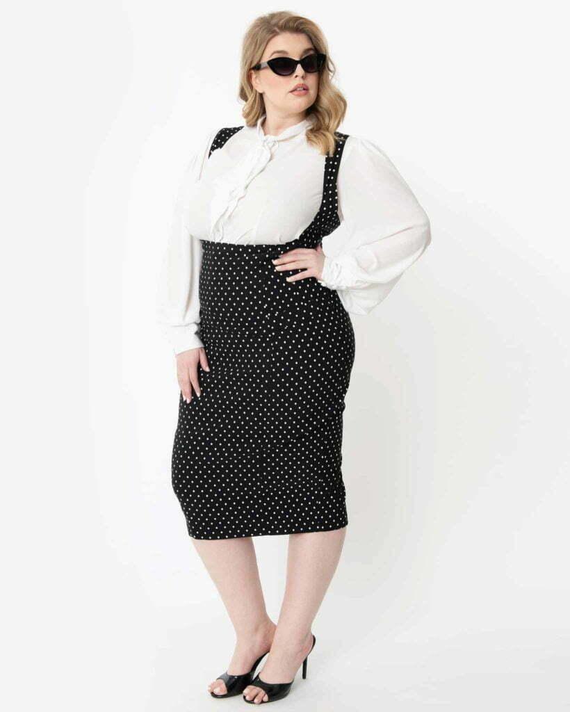 Unique Vintage Plus Size Black & White Pin Dot Fontaine Suspender Pencil Skirt