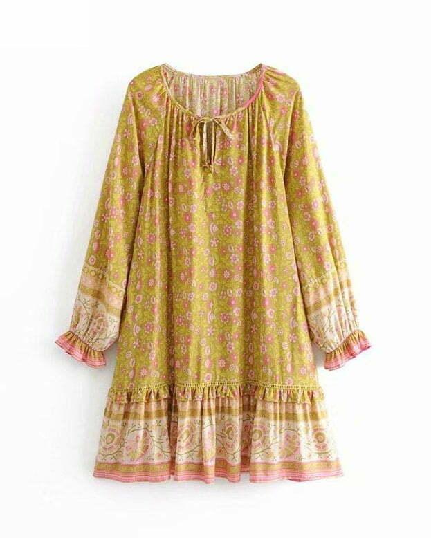 Vintage Chic women floral print o-neck ruffles rayon Bohemian mini dress
