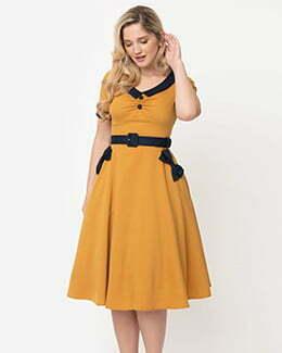 Voodoo Vixen Retro Style Mustard Yellow Maryann Swing Dress