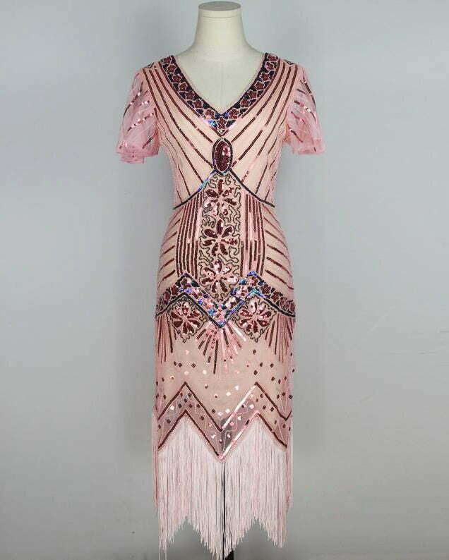 Women's 1920's Vintage Gatsby Bead Sequin Art Deco Flapper Dress