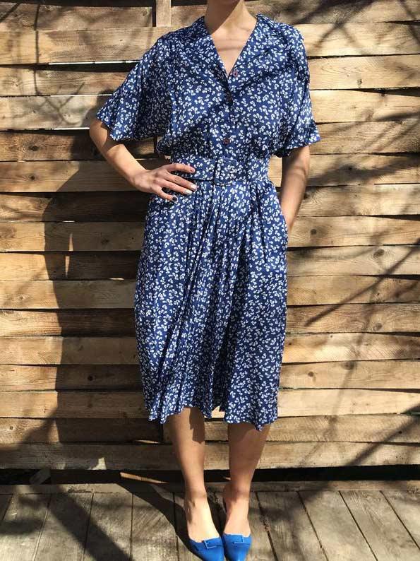 40's style blue & white shirt dress
