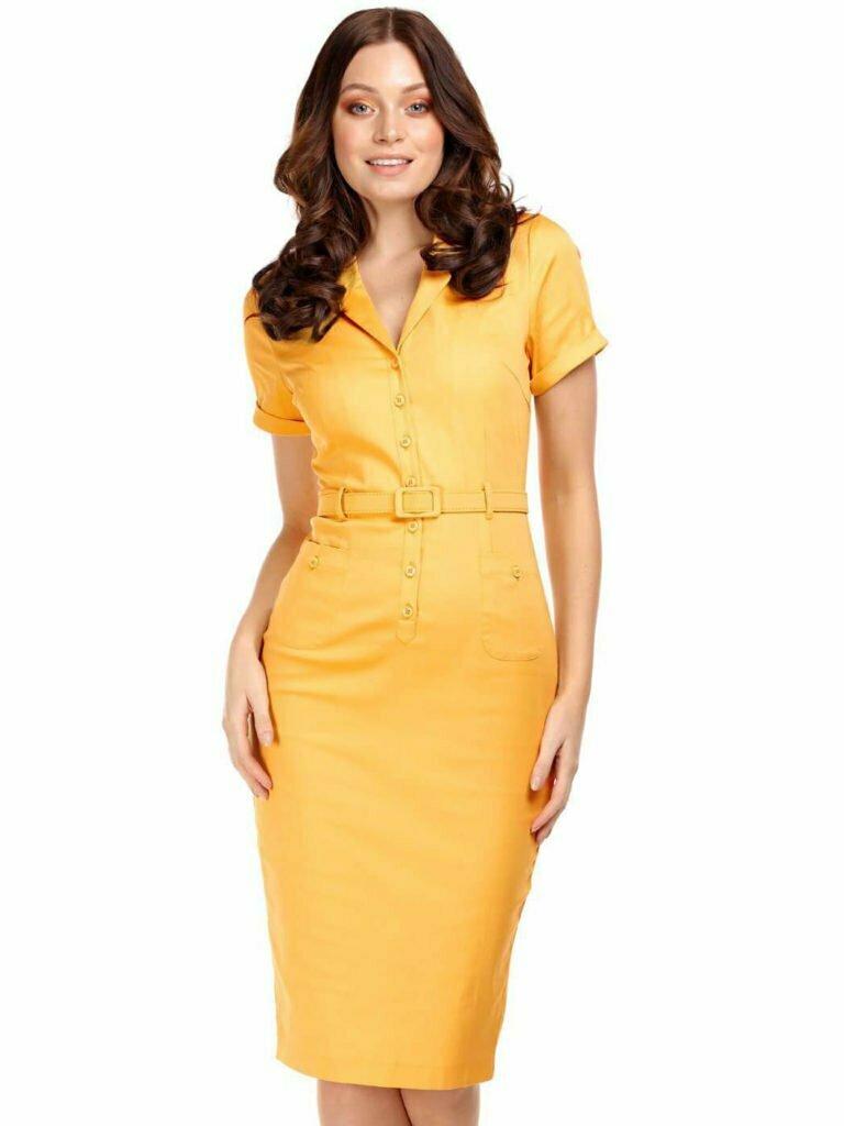 Collectif Caterina Pencil Dress - Mustard