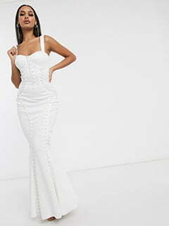 ASOS DESIGN Premium extreme lace up cami maxi dress in white
