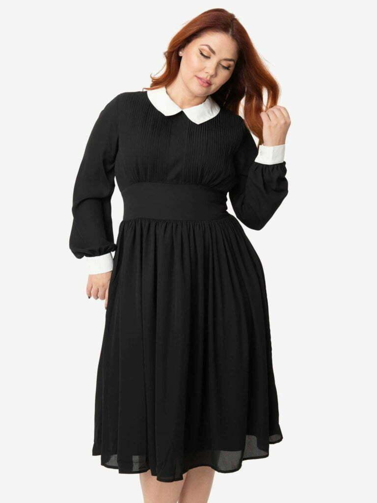 Unique Vintage Plus Size 1940s Style Black & White Deirdre Shirt Dress