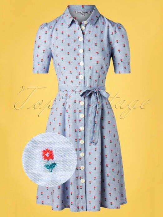 Very Cherry 40s Jane Button Down Dress in Principessa Light Blue