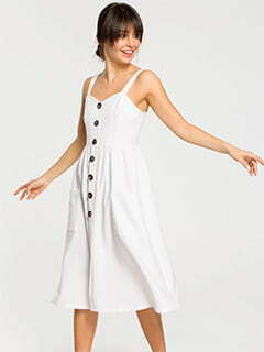 Midi Dress With Side Pockets And Loose Bottom In White