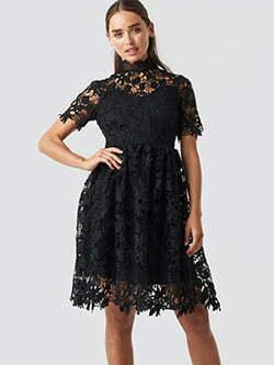 High Neck Short Sleeve Lace Dress