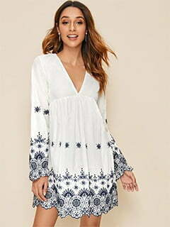 Deep V-neck Floral Embroidered Dress