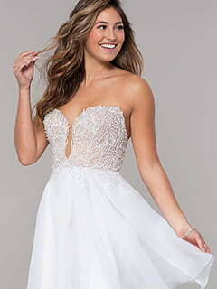 Embroidered-Bodice Short Strapless Homecoming Dress