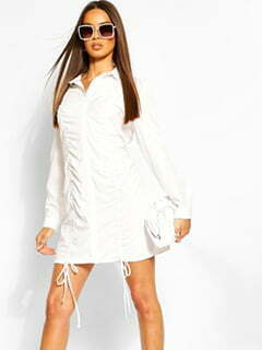 Ruched Front Shirt Dress