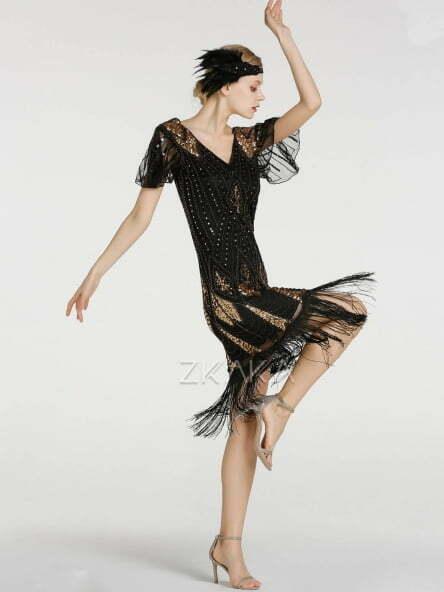 1920s Sequin Flapper Vintage Dress