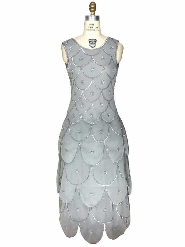 1920S BEADED CRINOLINE PARTY DRESS - THE DECO SCALLOP - SILVER GREY