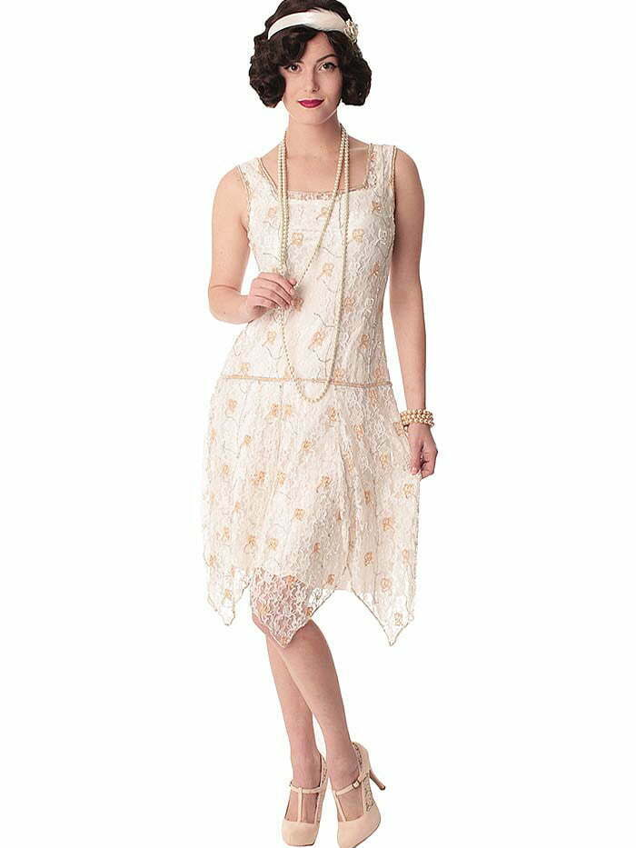 """20s Style Beaded White Lace """"Gabrielle"""" Flapper Dress"""