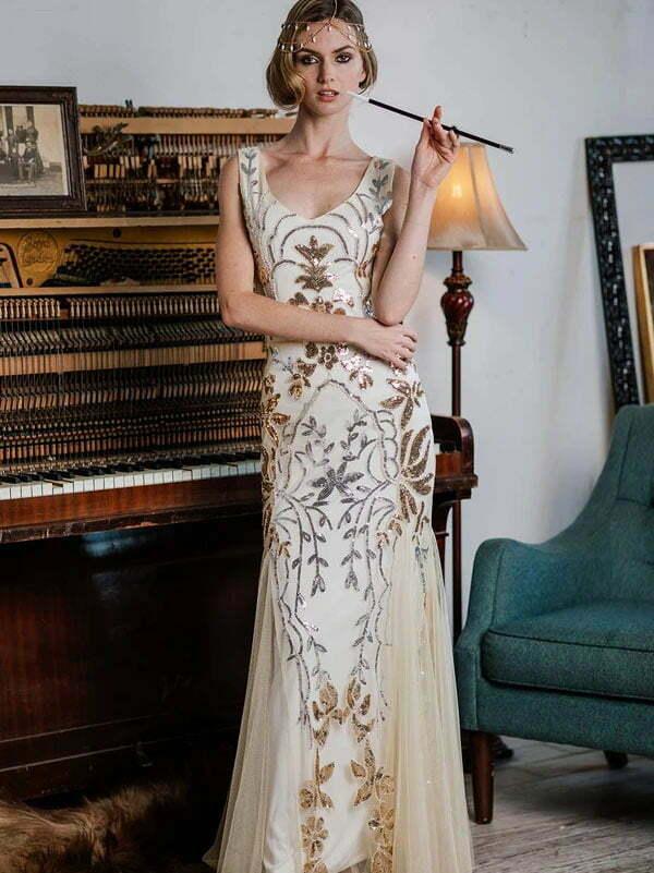 APRICOT 1920S SEQUIN MAXI DRESS