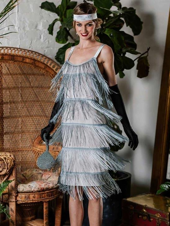 BELTED GRAY 1920S FRINGE GATSBY DRESS