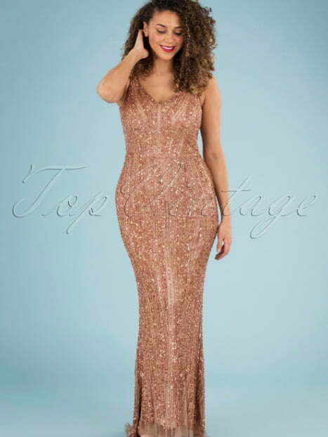 GatsbyLady 20s Sophie Sequin Maxi Dress in Rose Gold