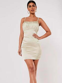 cream stretch satin ruched bust mini dress