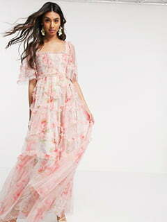 Needle & Thread smocked maxi dress in spring rose print